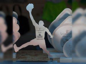 Trofeo Slam Dunk Contest con giocatore basket in acciaio inox
