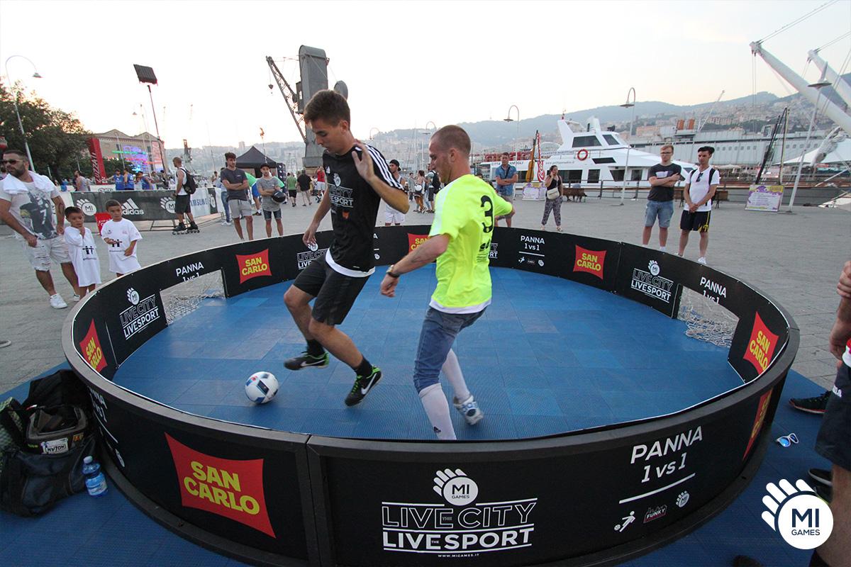 Struttura panna calcio 1 vs 1 in Piazzale Mandraccio, Porto Antico, Genova