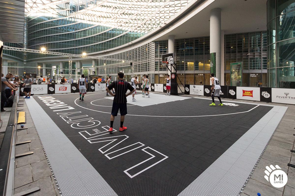 Noleggio campo da basket brandizzato e personalizzato Mi Games