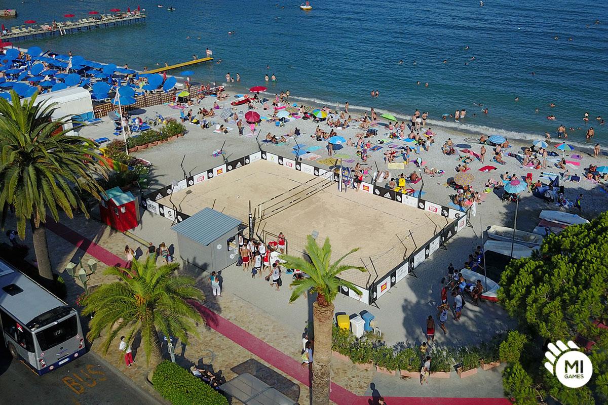 Installazione campo da beach in spiaggia a Santa Margherita Ligure per Mi Games