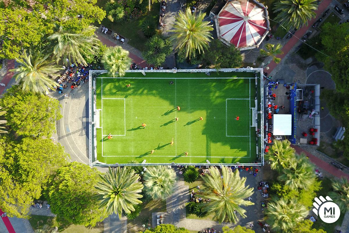 Campo da calcio temporaneo in piazza a Santa Margherita Ligure