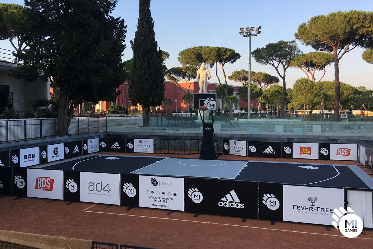 Montaggio campo da basket al Foro Italico, Roma - Mi Games