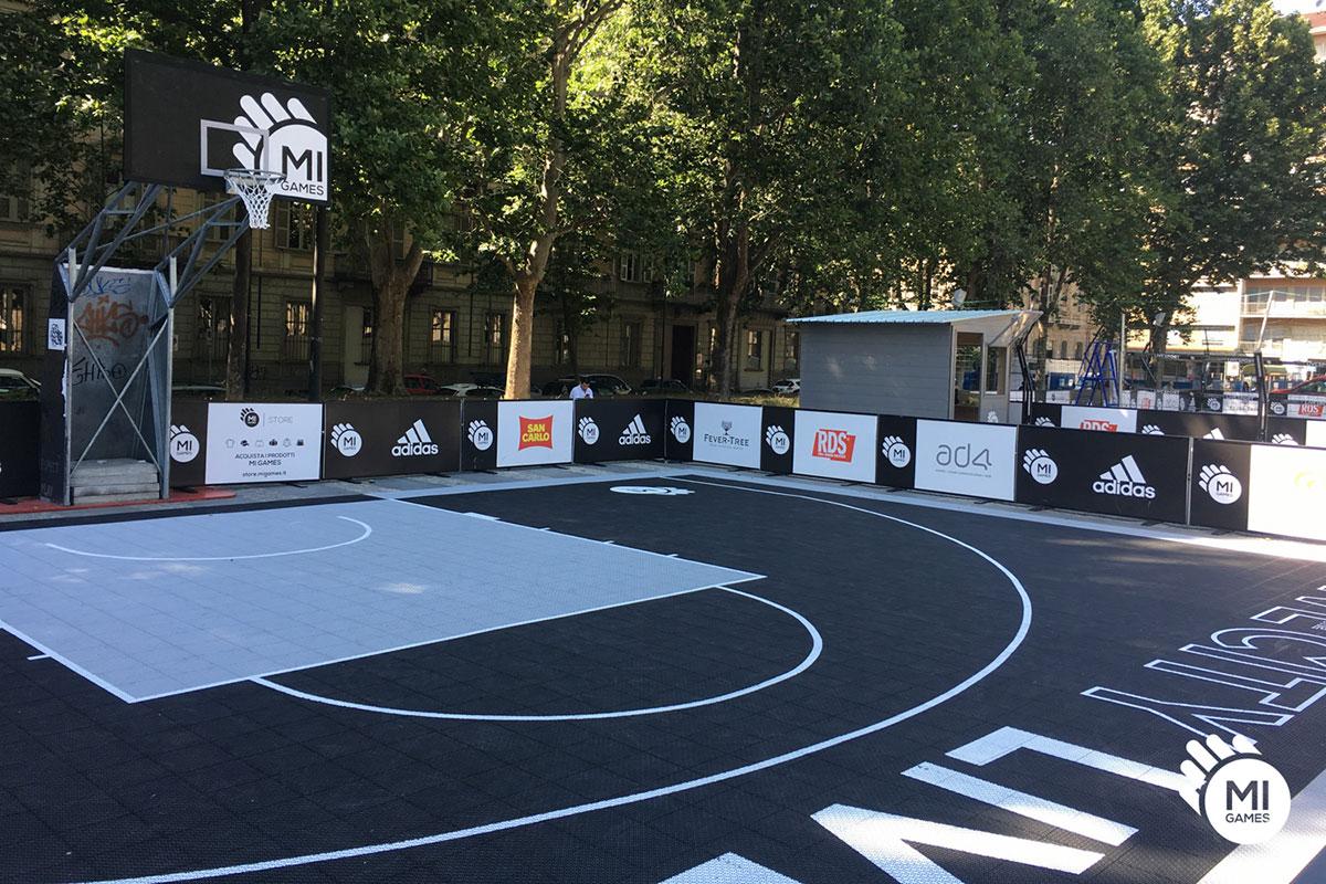 Illuminazione campo da basket le pantere rodigine su un campo
