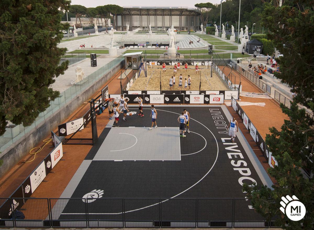 Installazione campo da basket 3 contro 3 al Foro Italico